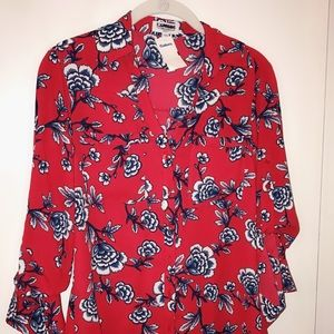 Express Red Button Down Blouse!